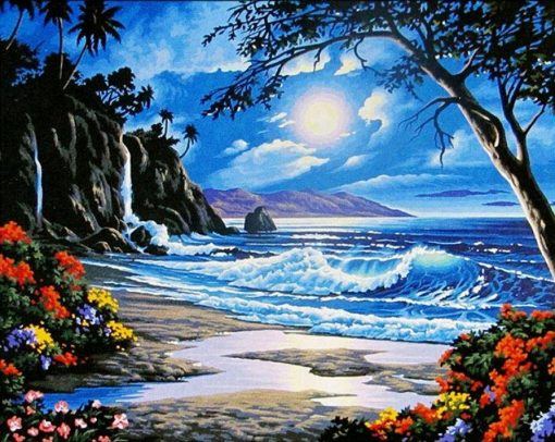 Beautiful Beach View - DIY Paint By Numbers - Numeral Paint
