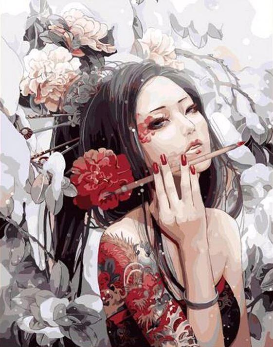 Japanese Woman - DIY Paint By Numbers - Numeral Paint