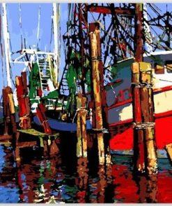 Boat Landscape Acrylic Paint - DIY Paint By Numbers - Numeral Paint