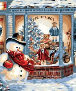 Christmas Snow Wall Art Acrylic Paint - DIY Paint By Numbers - Numeral Paint