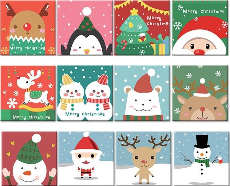 Cartoon Christmas Animals Paint By Numbers Canvas