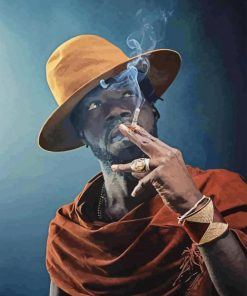 Afro Smoking Man paint by numbers