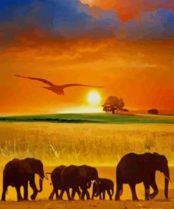 Animals Silhouette Sunset paint by numbers