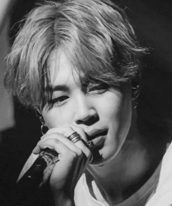 Black And White Jimin BTS paint By numbers