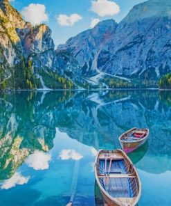 boat in Fanes Sennes Prags Nature Park Italy paint by number
