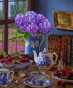 Tea Table With Fruits And Books paint by numbers