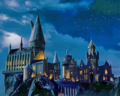 Hogwarts Castle At Night paint by numbers