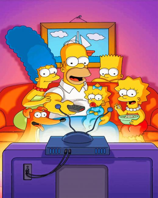 Simpsons On The Couch - NEW Paint By Numbers - Canvas Paint by numbers