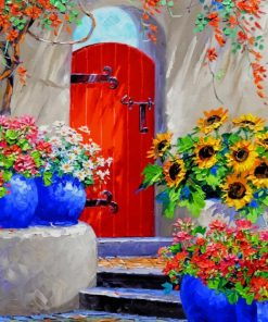 Red Door With Flowers paint by numbers