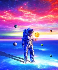 Astronaut In The Colorful Space paint by numbers
