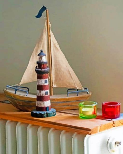 Boat And Light House Toys paint by numbers