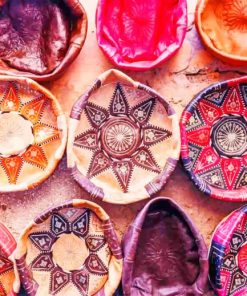Traditional Moroccan Baskets Design paint by numbers