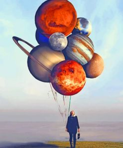 Girl Holding Balloons Planets paint by numbers