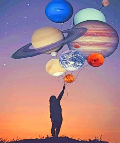 Girl Silhouette Holding Balloons Planets paint by numbers