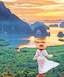 Girl In Samet Nangshe Viewpoint Thailand paint by numbers
