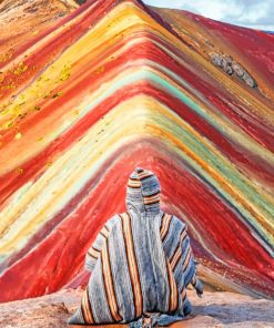 Man In rainbow mountains Peru paint by numbers