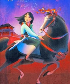 Mulan Princess On Horse paint by numbers