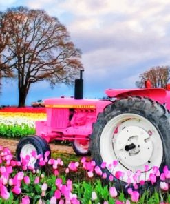 Pink Tractor paint by numbers