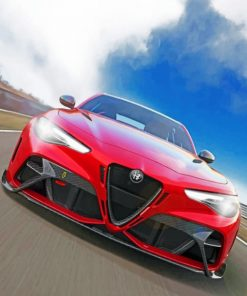 Red Alfa Romeo paint by numbers