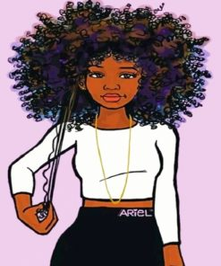A Girl With An Afro Hair paint by numbers