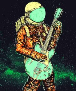 Astronaut Playing Guitar paint b y numbers