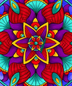 Colorful Flower Mandala paint by numbers