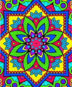 Bright Colorful Mandala paint by numbers
