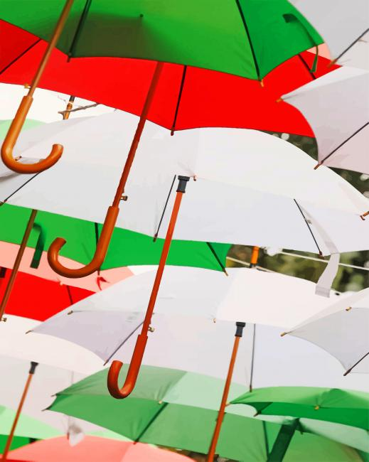 Multi Colored Umbrellas paint by numbers
