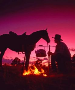 Cow Boy With Fire And A Horse paint by numbers