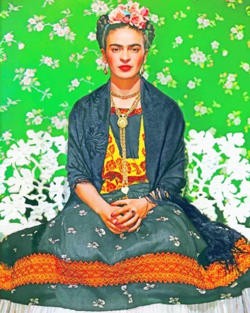 Frida Kahlo Tehuana Dress paint by numbers
