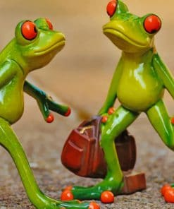 Frogs Carrying Luggage painting By Numbers