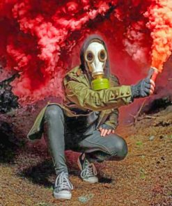 Gas Mask With Smoke Bomb paint by numbers