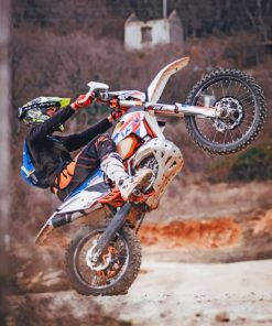Motorcross On One Wheel paint by numbers