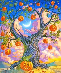 Pumpkin Tree Halloween paint by numbers