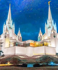 San Diego California Temple paint by numbers