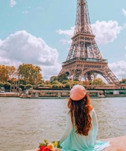 Woman Sitting In Front Of Eiffel Tower painting by numbers