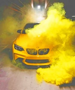 Yellow Bmw With Smoke Bomb painting by numbers