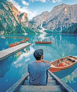 Man Sitting Near To Lake paint by numbers