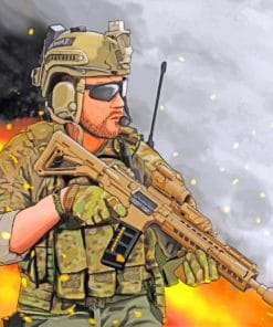 Military Man paint by numbers
