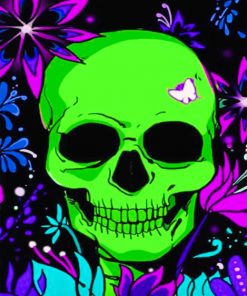 Neon Skulll Flower paint By Numbers
