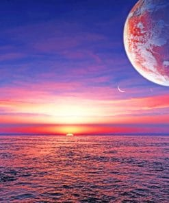 Planet Ocean Sunset paint by numbers