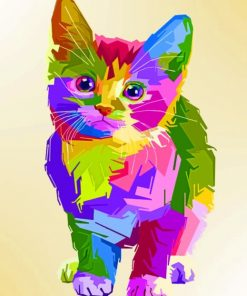 Rainbow Pop Art Cat paint by numbers