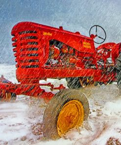 Tractor In Snowy Field paint by numbers