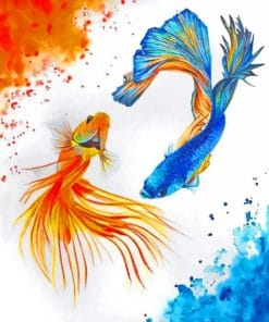 Watercolor Koi Fishes paint by numbers