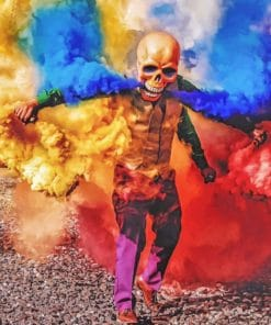 Skeleton With Colorful Smoke Bomb paint By Numbers