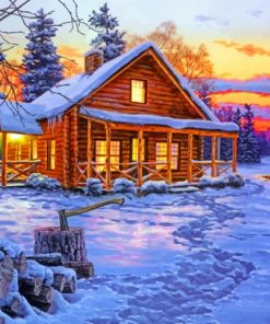 Snow Cabin paint by numbers
