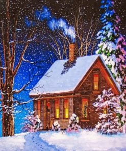 Christmas Snow Cabin paint by numbers