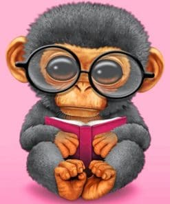 Monkey Reading Book paint by numbers