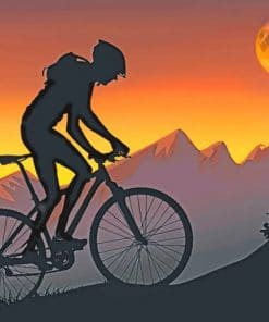 Mountain Biker Silhouette paint by numbers