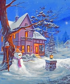 Night Winter House paint by numbers